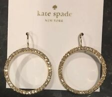 Kate Spade Round Gold Hoop Earrings With Clear Crystals French Wire NWT Round