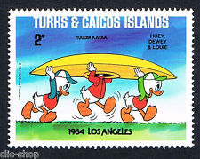 WALT DISNEY 1 FRANCOBOLLO TURKS & CAICOS ISLANDS LOS ANGELES 2c 1984 nuovo