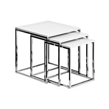 Nest Of 3 Tables White High Gloss Surface Elegant Modern Chrome Finish Frame