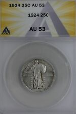 1924  .25  ANACS  AU 53   Standing Liberty Quarter,Liberty 25 Cents