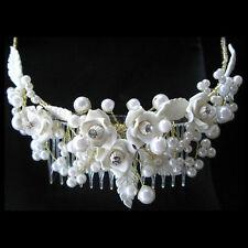 Ivory Rose and Rhinestone Wedding Hairpiece