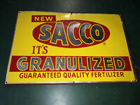 Vintage SACCO Granulized Fertilizer Tin Tacker Metal Sign Farm Guarantee Quality