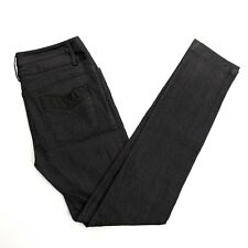 Nanette Lepore DJ Jeans Pants Skinny Dark Black Satin Waist Designer Size 4