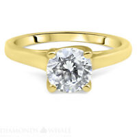 1.5 CT Solitaire Engagement Diamond Ring Round SI1/D Yellow Gold 18K Enhanced