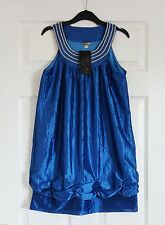 Womens Blue Sheen Dress Round Neck Detailed Size S 6/8 (Pit-Pit 40cm)