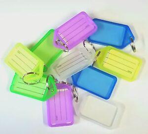 50 x LARGE KEY RING IDENTIFIER TAGS HEAVY DUTY ID Markers Keys Tab Fob click tag