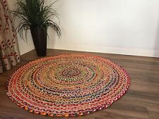 ❤️FAIR TRADE SHABBY CHIC COTTON JUTE BRAIDED MULTI COLOURED ROUND RAG RUG 90cm