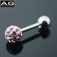 A single Plum cubic snow ball barbell earring stud piercing 18g
