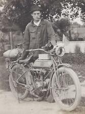 1910s PHOTO DELIVERY MAN? RIDING THOR MOTORCYCLE