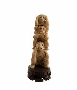 Figurine 3 Wise Monkeys La Wisdom Or of / The Bonheur Mizaru Kikazaru Iwazaru C3