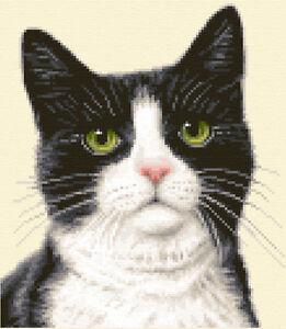 BLACK & WHITE CAT, KITTEN  counted cross stitch kit *Jann Designs