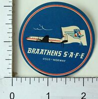 1940's-50's Braathens SAFE Oslo Norway Luggage Label Poster Stamp Label F70