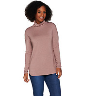 H by Halston Essentials Long Sleeve Knit Turtleneck Color HEATHER OYSTER 3X