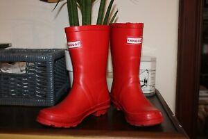 KANGOL Calf Length Wellingtons Girls Boys Red UK 13 Kids Wellies