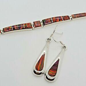 Sterling Silver Fire Opal Inlay Bracelet & Dangle Earrings Set Magnificent!