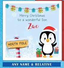 Penguin personalizado de tarjeta de Navidad-hijo-hija-Sobrino - sobrina Nieto