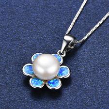 Fashion Silver Blue Imitation Opal White Pearl Pendant Necklace Wedding Jewelry