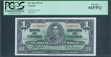 CANADA, Bank of Canada $1 1937 BC-21d KGVI PCGS 66 PPQ Gem new