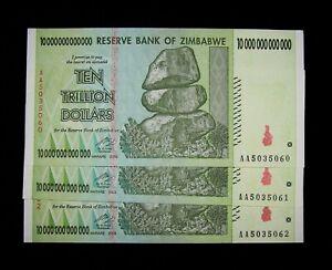 3 Zimbabwe banknotes-3 x 10 Trillion Dollars-ZA REPLACEMENT-circulated
