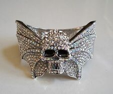 Fashion Silver Finish Crystal Hip Hop Bling Skull With Wings Bangle Bracelet