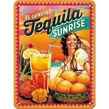 Targa in Latta Vintage Cocktail-Time-Tequila Sunrise in metallo stampato 15 x 20