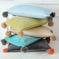Throw Pillow Case Cushion Cover Pom Pom Velvet Fluffy Furry Sofa Decor Cute Cosy