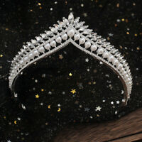 Pearl Clear Crystal 6cm High Adult Wedding Bride Party Pageant Prom Tiara Crown