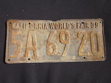 RARE 1939 CALIFORNIA WORLD'S FAIR California License Plate #5A6920