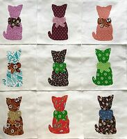 "Calico Cat with Bow Quilt Top 6"" Blocks Cotton Fabric Appliques  Lot of 9"