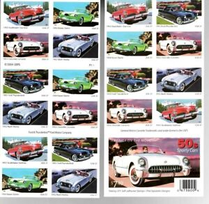 50s SPORTY CARS AMERICA ON THE MOVE USPS Booklet 20 Stamps 37c MNH Scott 3935