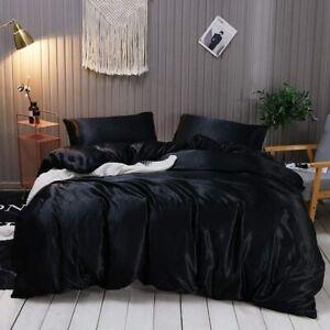 155x220 Satin Bettwäsche Set Einfarbig Unifarben Glatt Glanzsatin Polyester