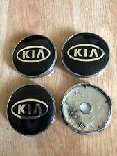 4x KIA 60mm Wheel Centre Cap Hub Alloy Caps 3D Logo New Black Silver