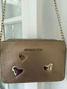 Michael Kors Medium Crossbody Bag Pale Gold Saffiano Leather