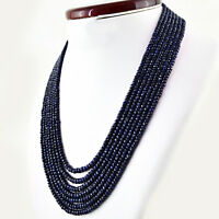 649.05 CTS NATURAL 7 LINE BLUE SAPPHIRE ROUND SHAPE FACETED BEADS NECKLACE (RS)