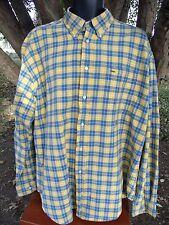 Tommy Hilfiger Button Down Collar Shirt Mens XL Yellow Blue Green