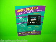 HIGH ROLLER By GRAYHOUND NOS COUNTERTOP VIDEO ARCADE GAME PROMO SALES FLYER