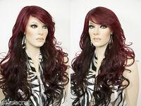 Medium Len Skin Top Heat Friendly Wavy Curly Blonde Brunette Red Wigs