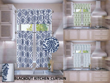 3PC LANA LINED BLACKOUT ROD POCKET PRINTED DESIGN WINDOW KITCHEN CURTAIN SET