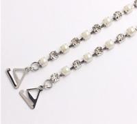 Paire de bretelles de rechanges rivière strass transparents et perles blanches