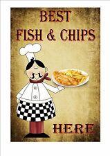 POISSON & Chips café signe style vintage ENSEIGNE DE BOUTIQUE CUISINE