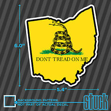 """Ohio State Don't Tread On Me - 5.4""""x6.0"""" - printed vinyl decal sticker OH"""