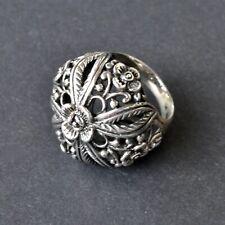 *Vintage Large Sterling Silver Filigree Domed Etruscan Hollow Ring SIZE 7