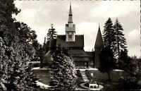 Hahnenklee Bockswiese s/w AK ~1950/60 Partie an der Gustav Adolf Kirche Garten