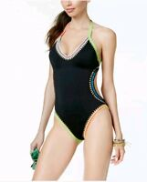 Bar III Black Be Weave It Monokini One Piece Swimsuit Size XL NWT New $88