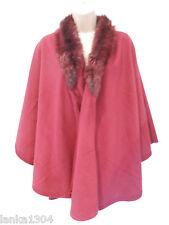M&Co Berry Colour Faux Fur Collar Smart Winter Cape Wrap (NEW) One Size