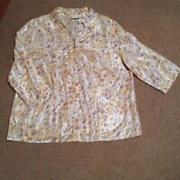 Women's Blouse Button down Shirt plus size 22W soft material Alfred Dunner