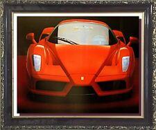 Red Ferrari Enzo Exotic Sports Car Mahogany Black Framed Wall Decor Art Picture