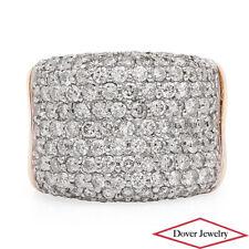 Estate 3.68ct Diamond 14K Gold Wide Cluster Cocktail Ring 19.4 Grams NR