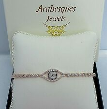 ARABESQUES STERLING SILVER/9ct ROSE GOLD  EVIL EYE/HAMSA TENNIS SLIDER BRACELET
