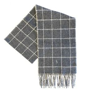 POLO RALPH LAUREN Mens Wool Windowpane Plaid Check Scarf Gray (MSRP $98)